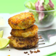Chilli Salmon Patties with Lime Dressing