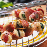 Barbecued Scallops Wrapped in Bacon and Sage